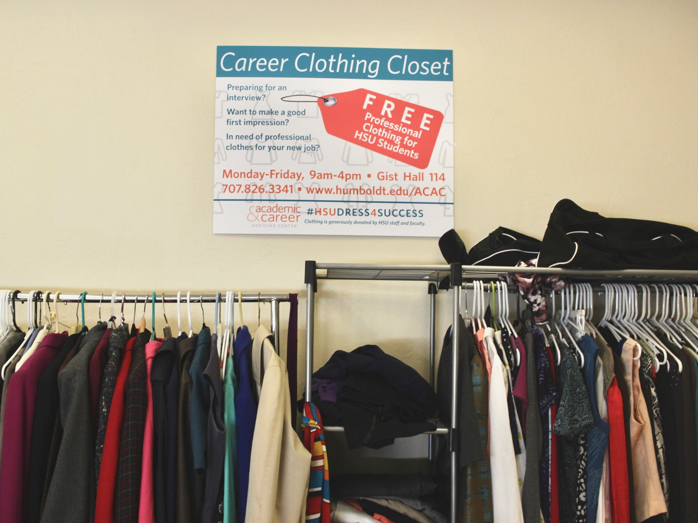 A photo of our Career Clothing Closet in our center where students can get free professional clothing.