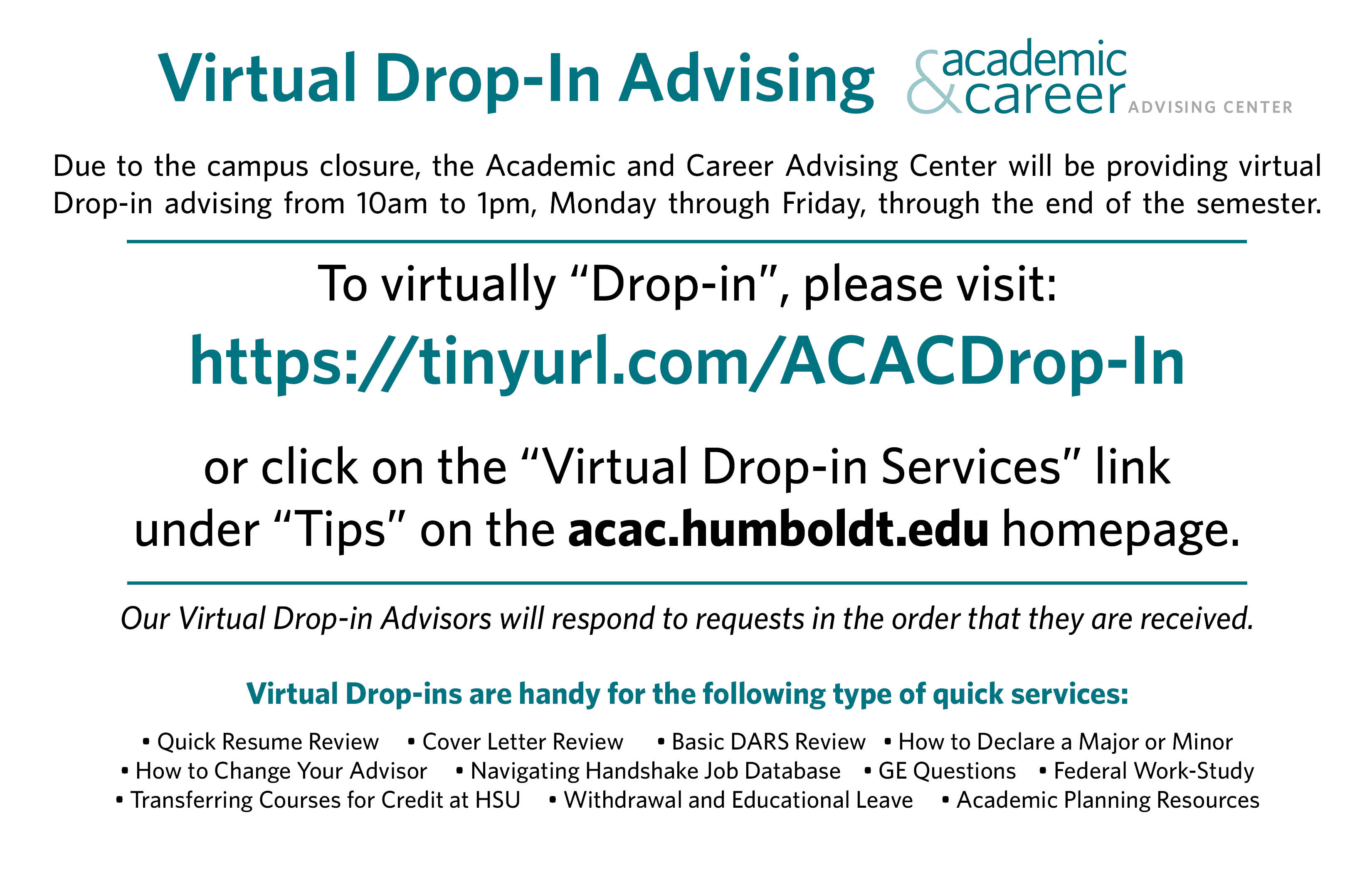 drop-ins available via email at acac@humboldt.edu