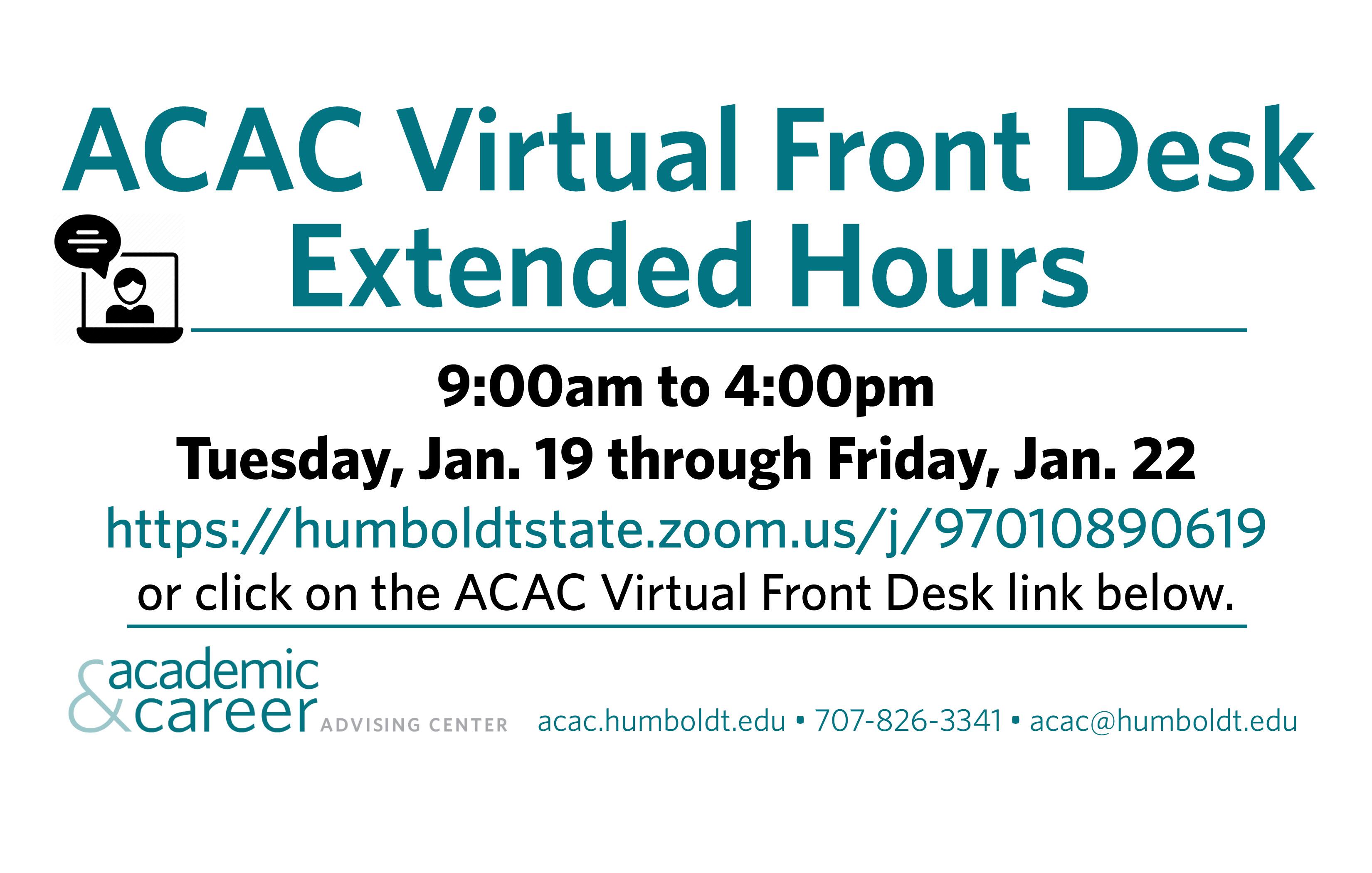 virtual front desk zoom humboldtstate.zoom.us/j/97010890619 extended hours this week