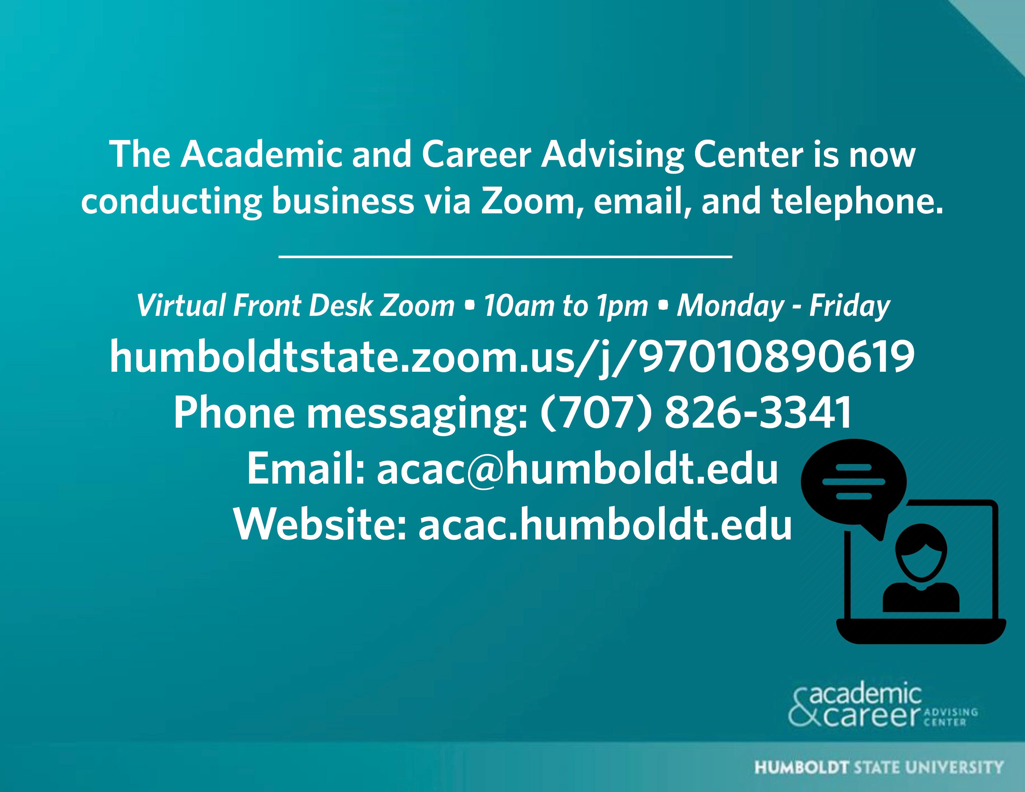 ACAC is virtual 7078263341 acac@humboldt.edu