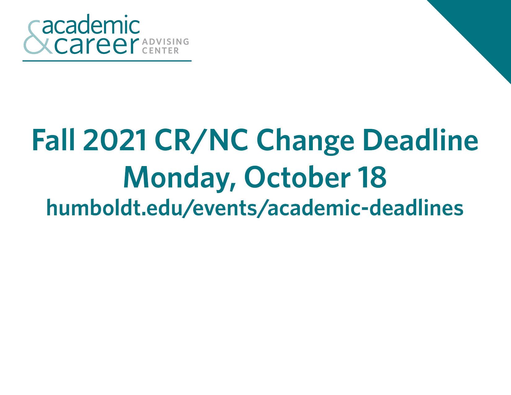 credit no credit change deadline monday october 18