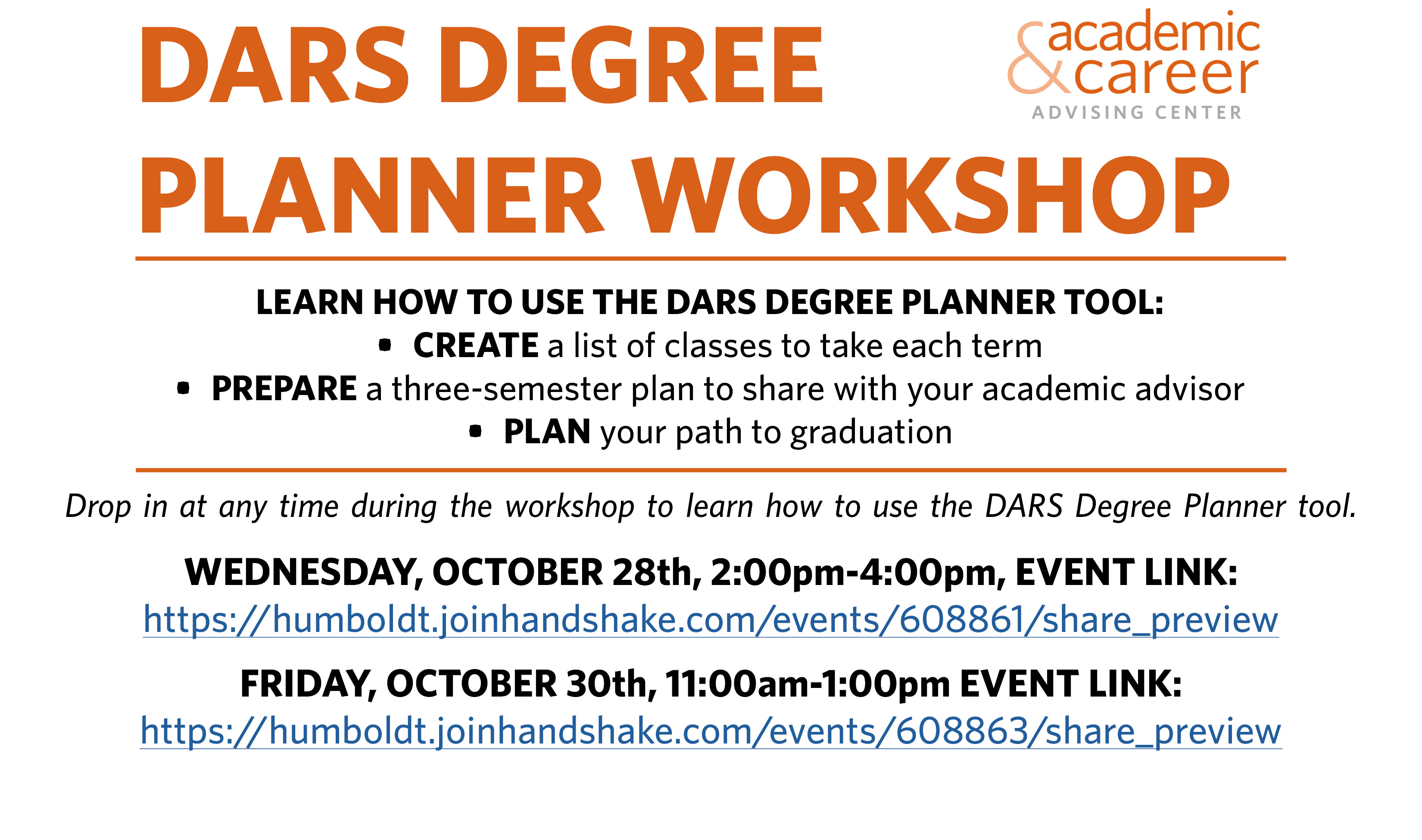 DARS Degree Planner Workshops through Handshake