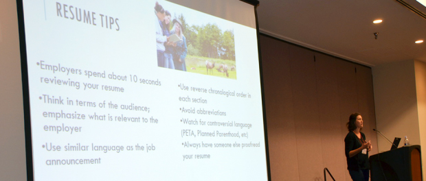 career advisor presents a workshop